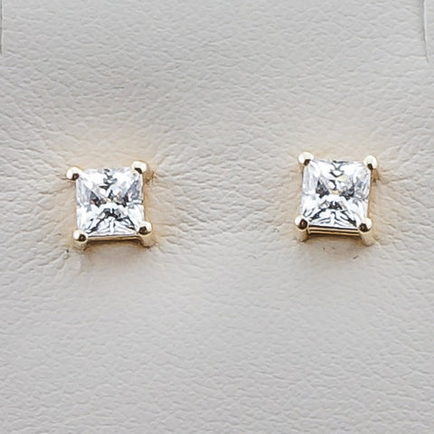 14K Yellow Gold .70CT 4MM  Diamond Hybrid Princess Cut Earrings