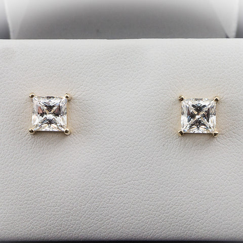 14K Yellow Gold 2.00CTW 6MM Princess Cut Diamond Hybrid Studs 1CT EA