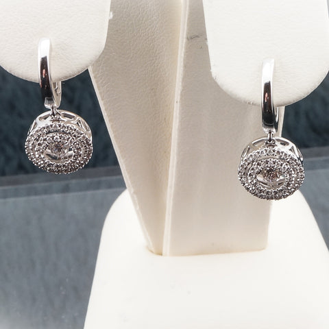 14K White Gold .38CT Dancing Diamond Earrings