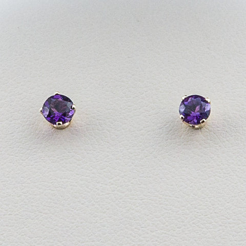 14K 4MM February/Amethyst Post Earrings