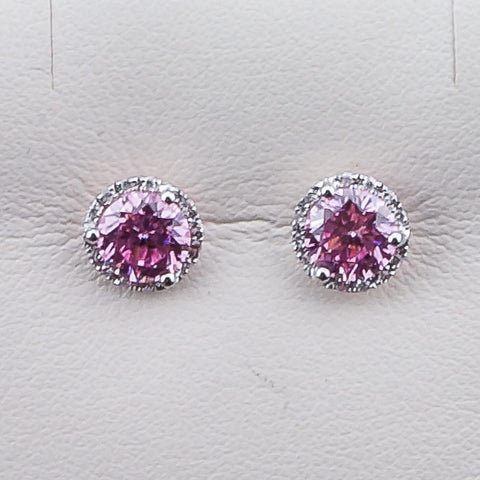 14K White Gold .99, 24 RD .07,2 Pink Zircon & Diamond Earrings