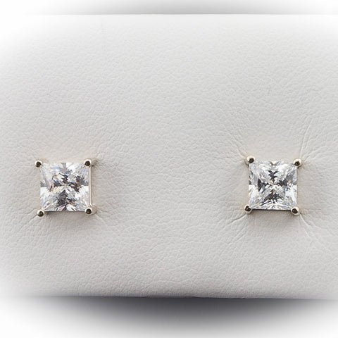 14K White Gold 2.00CTW  Diamond Hybrid Princess Cut Earrings