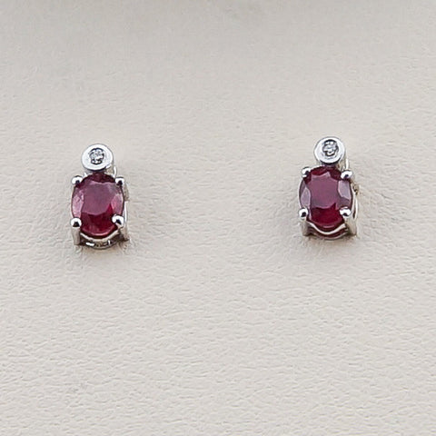 14KW .02CT Diamond 1.04 Ruby Earrings