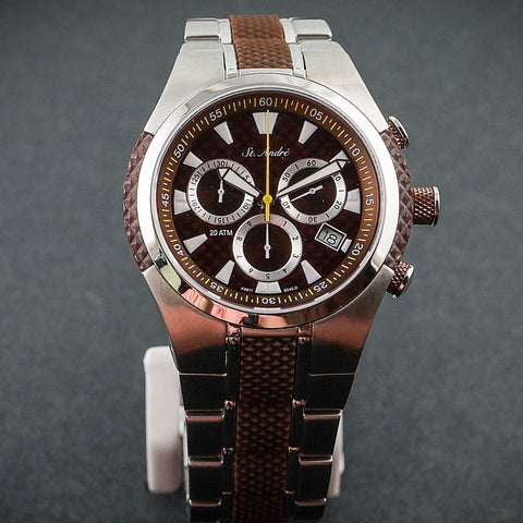20ATM Mens Stainless Steel Brown Round Red/Brown Face St.Andre Watch