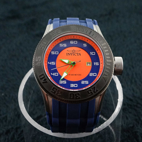 Invicta Stainless Steel Orange & Blue Gents Watch