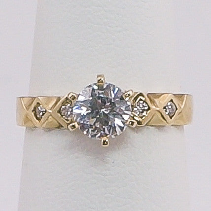 10K Yellow Gold Round CZ W/Diamond IN 2 SquareS ON SIDES Ring