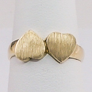 10K Yellow Gold 2 HeartS Ring Size 6.5