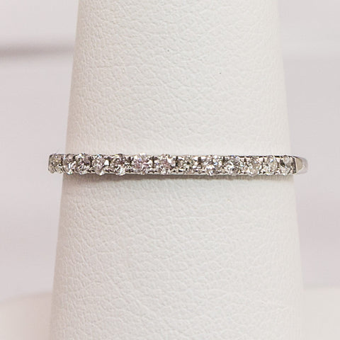 14K White Gold .15PT Diamond Band
