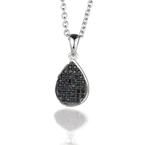 "Sterling Silver pear shaped pendant with micro black CZs on 18"" chain"