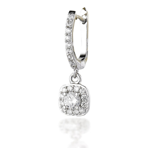 Sterling Silver CZ dangle square set earrings