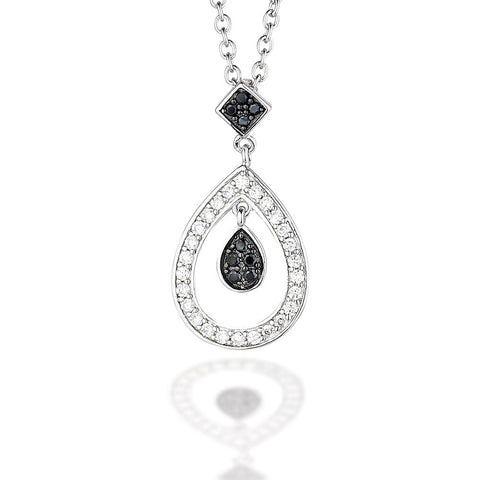 "Sterling Silver double pear dangle pendant with white and black CZ on 18"" chain"