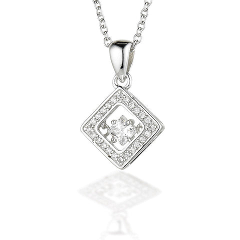 "Sterling Silver Square CZ bezel pendant with a square dancing CZ center on an 18"" chain"
