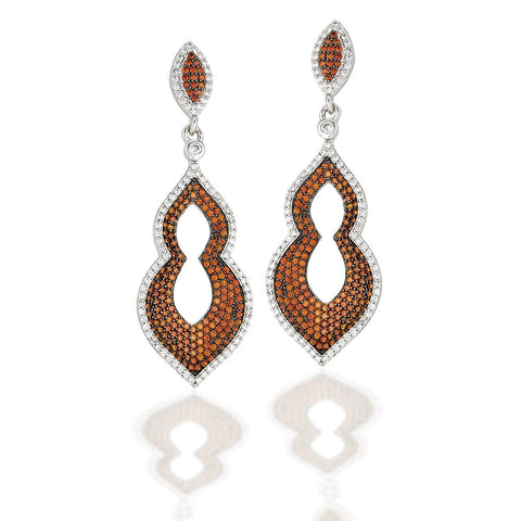 Sterling Silver Moorish style earrings with brown CZ center and white CZs outline