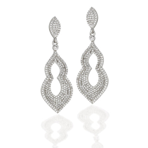 Sterling Silver Moorish style earrings with white CZs
