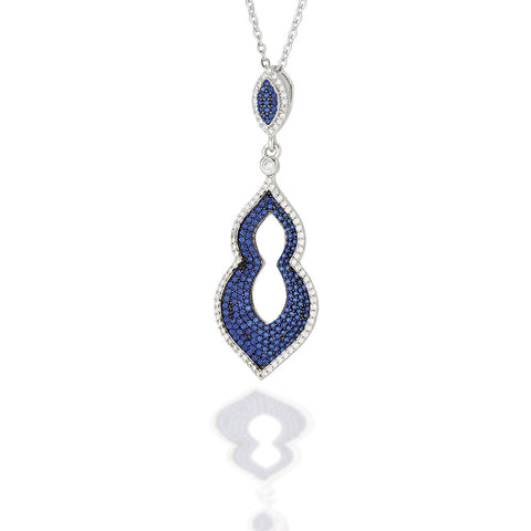 "Sterling Silver Moorish style pendant with blue CZ center and a white CZ outline on an 18"" chain"