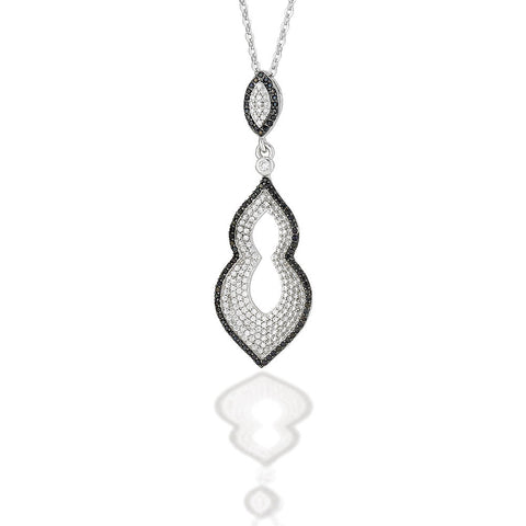 "Sterling Silver Moorish style pendant with white CZ center and black CZ outline on an 18"" chain"