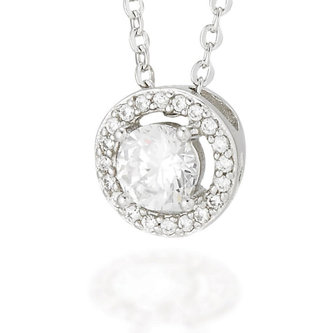 "Sterling Silver earrings with a white CZ center and a white CZ halo on 16"" Chain with 2"" extension"