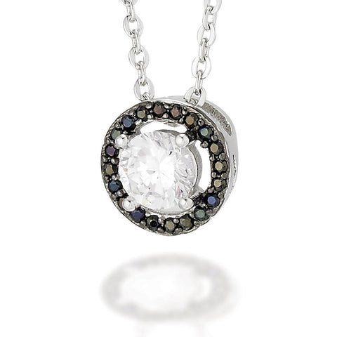 "Sterling Silver earrings with a white CZ center and a black CZ halo on 16"" Chain with 2"" extension"