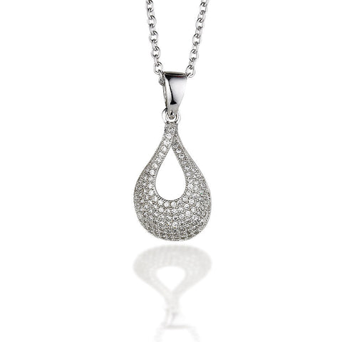 "Sterling Silver with micro CZ drop pendant on 18"" chain"
