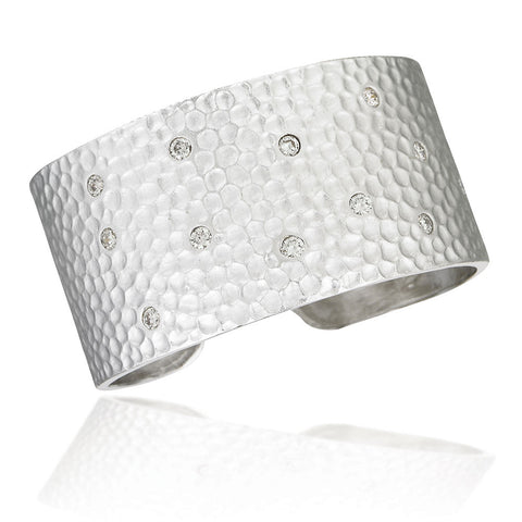 31.9MM Sterling Silver plated hammered slip bangle bracelet with scattered white CZs