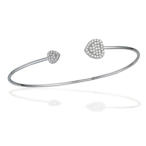 Sterling Silver bangle bracelet with white CZ heart end caps