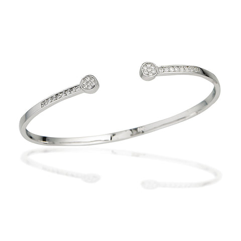 Sterling Silver bangle bracelet with white CZs