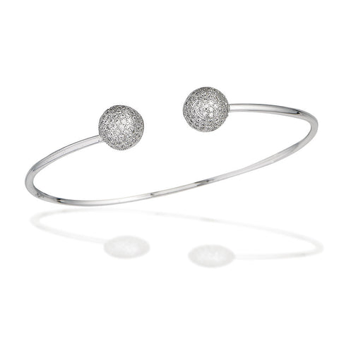 Sterling Silver bangle bracelet with white CZ button end caps