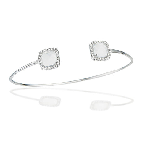Sterling Silver bangle bracelet with white checkerboard cut CZs and white CZ halo end caps