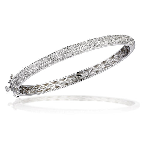 Sterling Silver bangle bracelet with white micro CZs