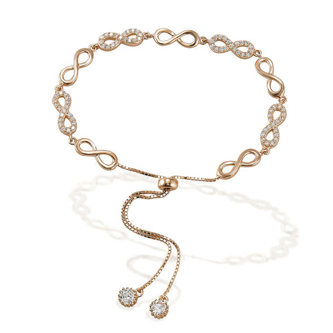 "7.5"" adjustable length rose tone bracelet with alternating white CZ and silver infinity signs with two bezel CZ ends"