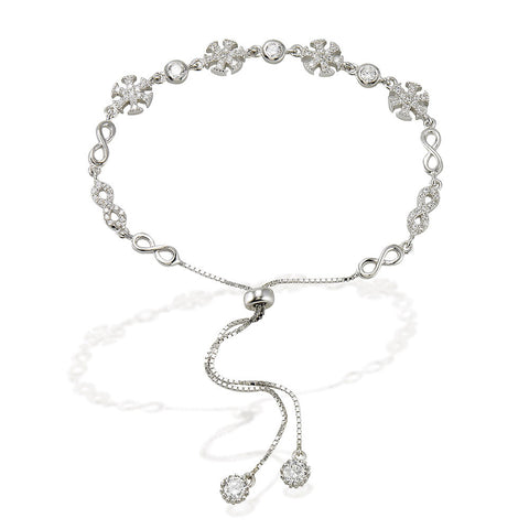 "7.5"" adjustable length bracelet with alternating white CZ and silver infinity signs with 4 CZ stars and bezel set CZs with two bezel CZ ends"