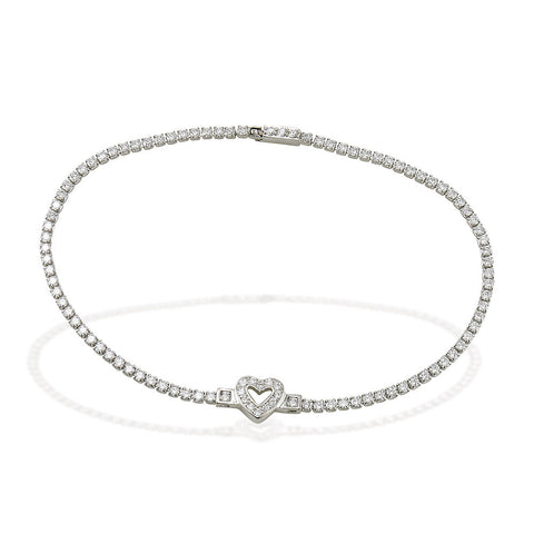 "7.5"" Sterling Silver and white CZ tennis bracelet with white CZ heart symbol in center"