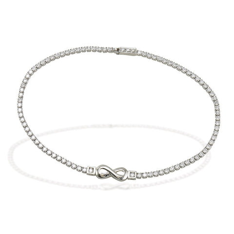"7.5"" Sterling Silver and white CZ tennis bracelet with high polished infinity symbol in center"