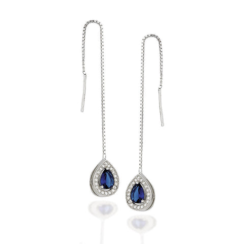 Sterling Silver pear shaped synthetic sapphire with white CZ halo threader earrings