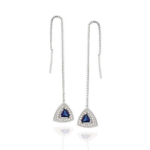 Sterling Silver trillion shaped synthetic sapphire with white CZ halo threader earrings