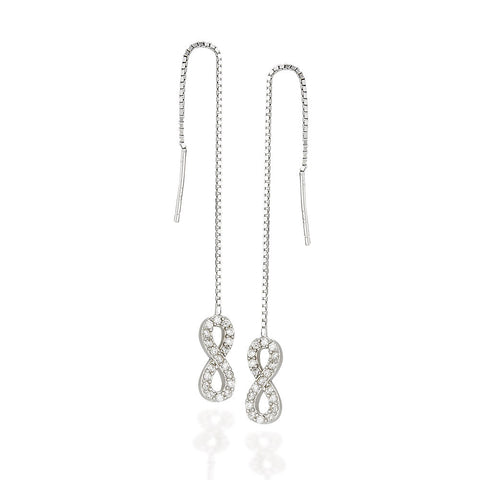Sterling Silver infinity symbol white CZ with halo threader earrings