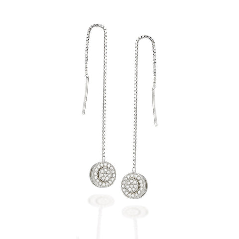 Sterling Silver round cluster white CZ with halo threader earrings