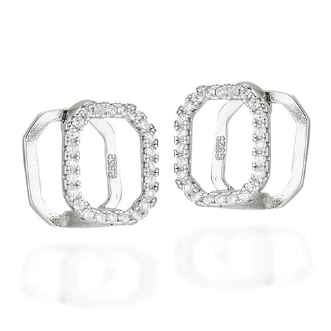 Sterling Silver huggie style earrings with square shaped front with white CZs