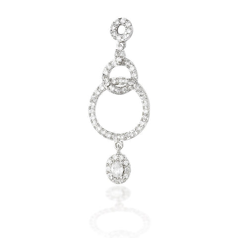 Sterling Silver multi-circle dangle earrings with white CZ