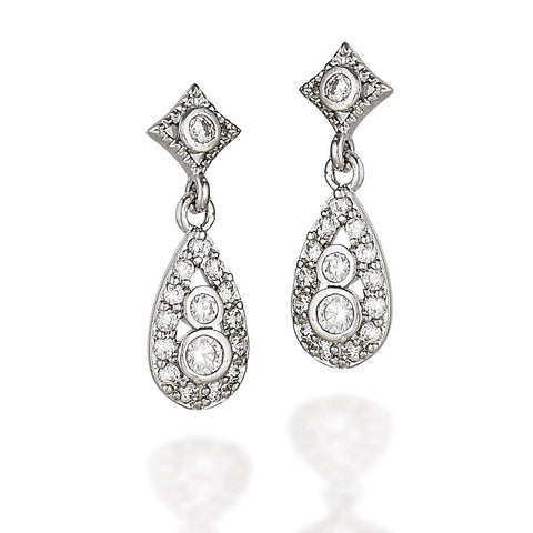 Sterling Silver and white CZ fancy earrings with square accented round CZ and pear shaped dangle with two round CZs and halo