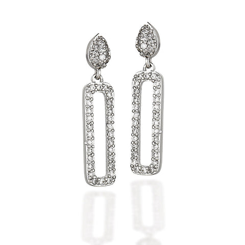 Sterling Silver and white CZ earrings with oval cluster top and rectangle halo dangle