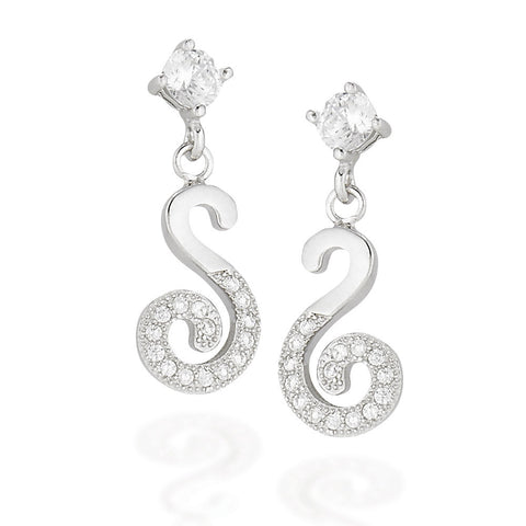 Sterling Silver round white CZ stud earrings with dangle S with half silver and half white CZs