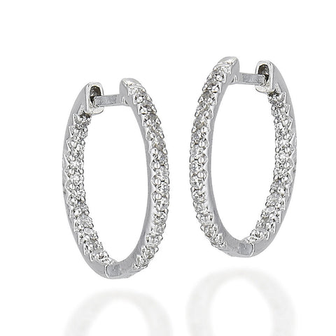 Sterling Silver oval inside out white CZ earrings