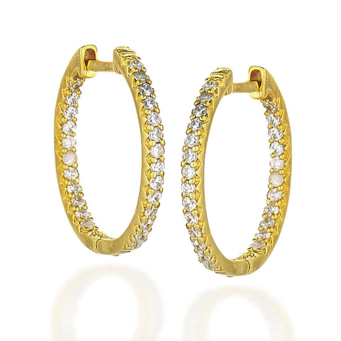 Yellow plated Sterling Silver oval inside out white CZ earrings