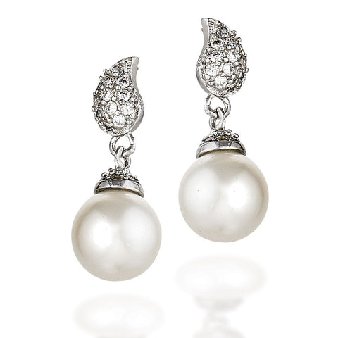 Sterling Silver and white CZ earrings  with CZ top design and round white pearl dangle with CZ top cap