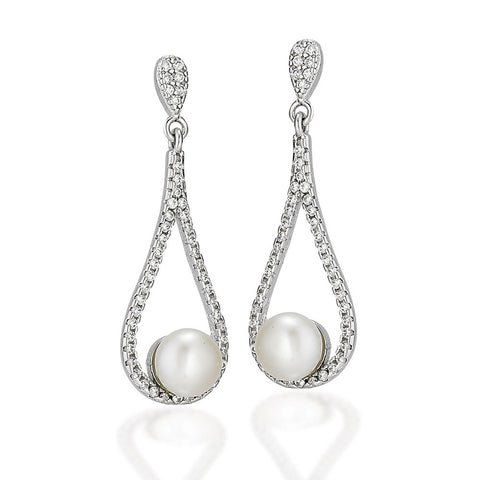 Sterling Silver and white CZ earrings with upside down pear cluster and tear drop CZ dangle with white pearl in bottom center