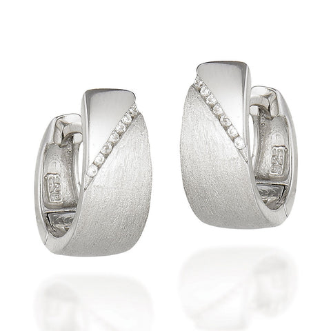 Sterling Silver art deco design huggie earrings with CZ diagonal line with high polished above and brushed below