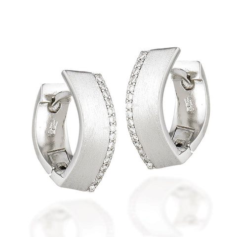 Sterling Silver art deco design with brushed front pointed huggie hoops with white CZs along one edge