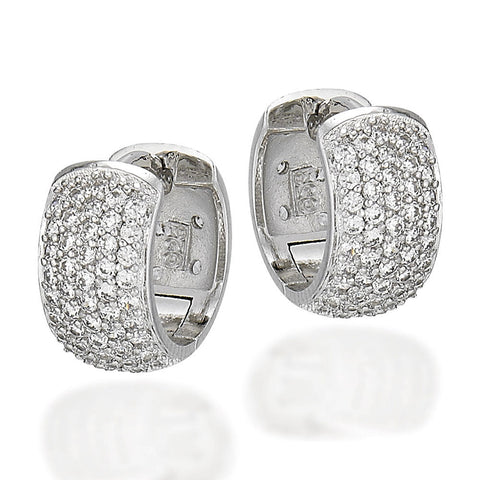 Sterling Silver and white CZ double sided huggie earrings, one side all CZs and the other scattered CZs