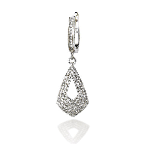 Sterling Silver dangle micro CZ drop earrings